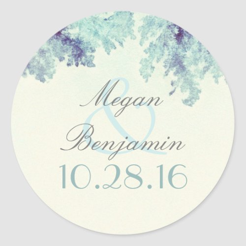Dusty Blue Tree Branches Rustic Classic Round Sticker