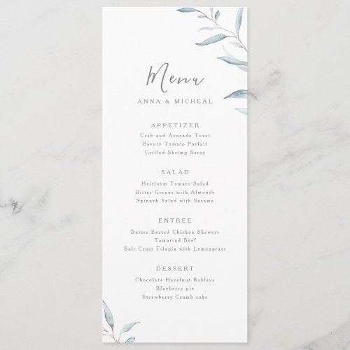 Dusty blue watercolor botanical greenery wedding menu