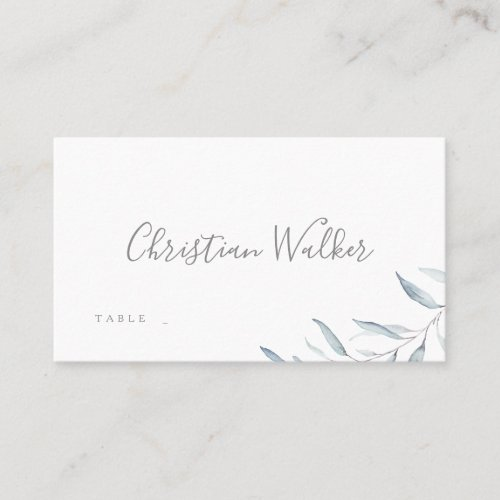 Dusty blue watercolor botanical greenery wedding place card