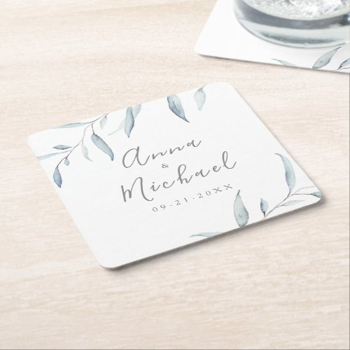 Dusty blue watercolor botanical greenery wedding square paper coaster