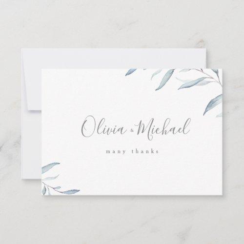 Dusty blue watercolor botanical greenery wedding thank you card