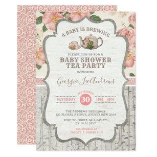 Dusty Pink Baby Shower Tea Party Vintage Fl Invitation