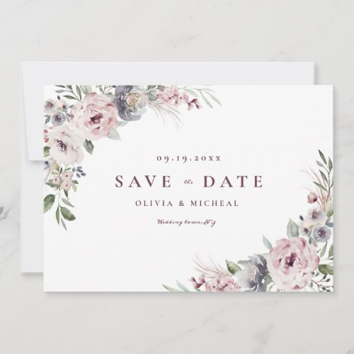 Dusty pink floral rustic boho save the date