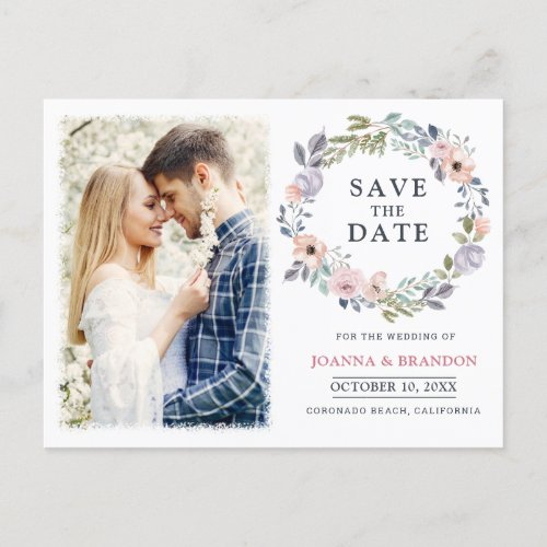 Dusty Pink Roses Midsummer Floral Save the Date Holiday Postcard