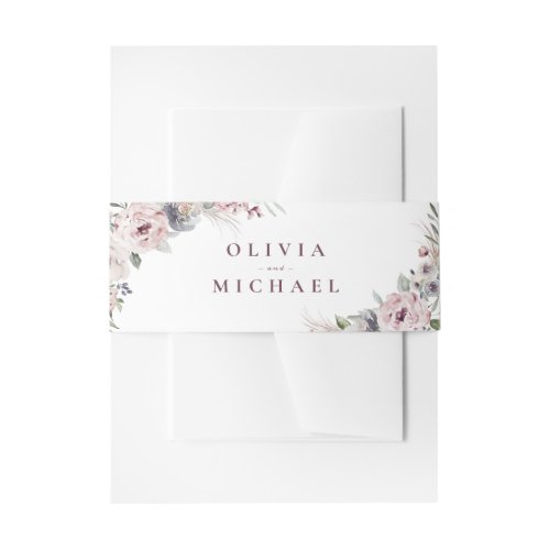 Dusty pink watercolor floral rustic boho wedding invitation belly band