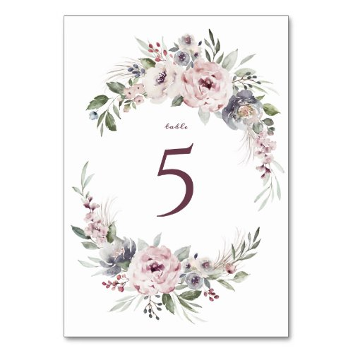 Dusty pink watercolor floral rustic boho wedding table number