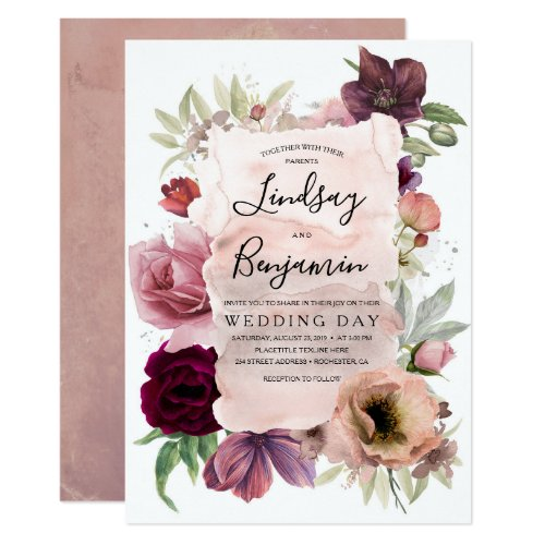 Dusty Rose and Burgundy Floral Vintage Wedding Invitation