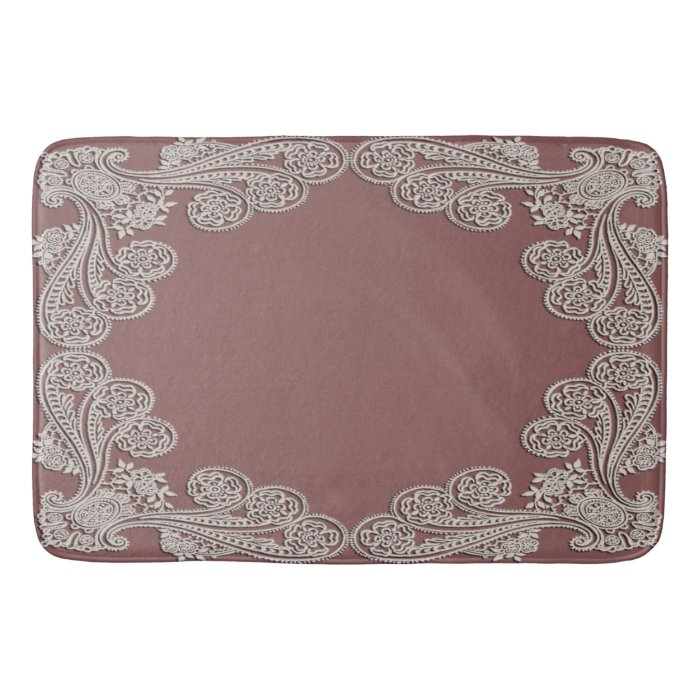 Rose Bath Mat. Dusty Rose Lace Bath Mat Zazzle. Fluffy