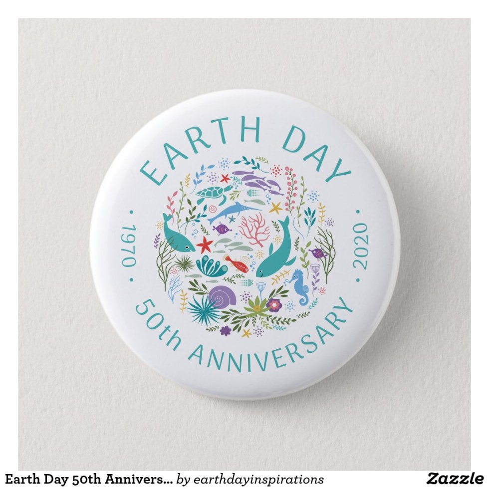 Earth Day 50th Anniversary 1970-2020 Ocean Animals Button