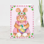Sweet Pink Bunny With Flower Crown & Egg Easter Spring Card