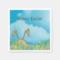 Easter bunny with butterfly napkin