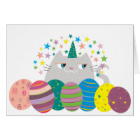 Easter Cat Cute Unicorn Caticorn Stars Funny Magic Card