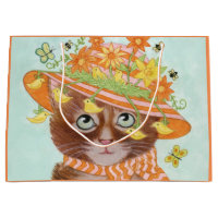 Easter Cat in Easter Bonnet with Butterflies Large Gift Bag