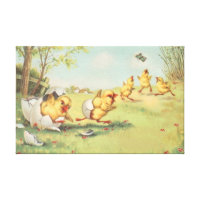 Easter Chick Butterfly Farmyard Canvas Print
