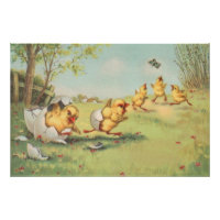 Easter Chick Butterfly Farmyard Poster