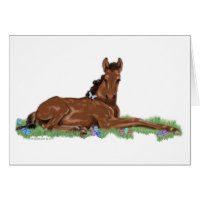 Easter Egg Horse Foal and Butterfly Card