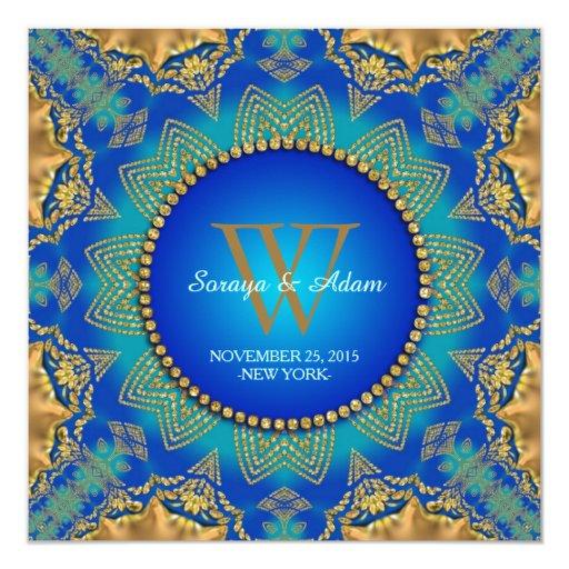 Eastern Blue Gold Satin Lace Monogram Invitation
