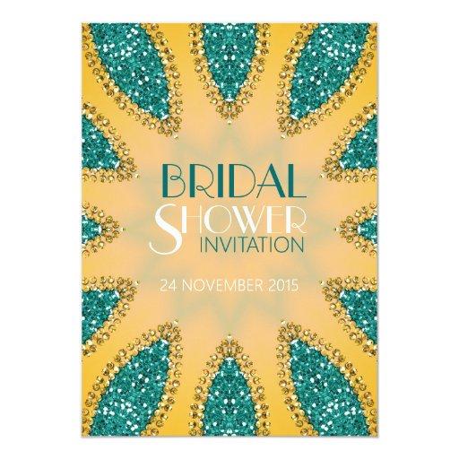 Eastern Sparkle Teal Gold Bridal Shower Invites