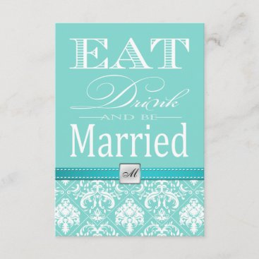 Eat Drink and be Married - Teal Blue RSVP Card