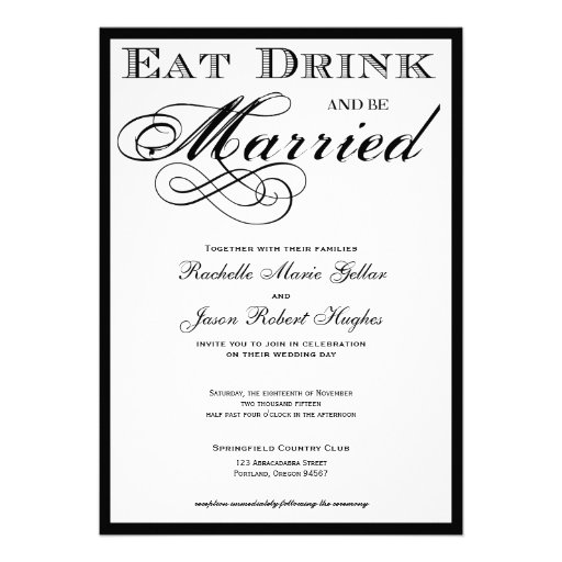 Eat Drink and be Married Wedding Invitation 5