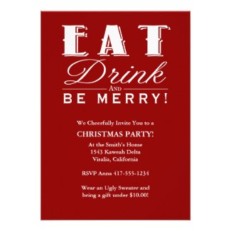 Eat Drink & Be Merry Christmas Party Invitation