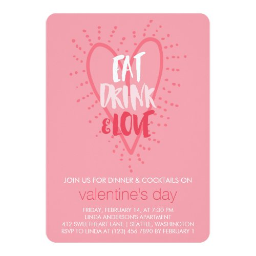 Eat Drink Love | Valentine's Day Party Invitation