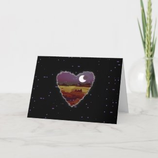 Eclipsed Heart Sci Fi Valentine Love Romance Card