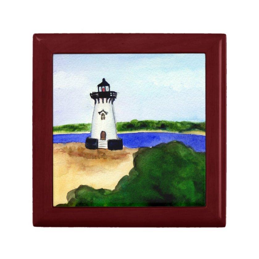 Edgartown Harbor Lighthouse Jewelry Box Art Gift