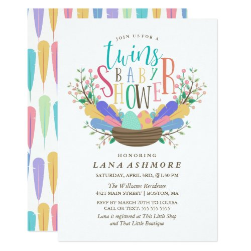 Egg & Colorful Feathers Twins Baby Shower Invitation