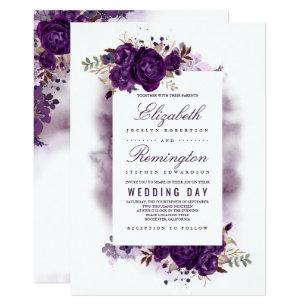 Eggplant Purple Fl Elegant Watercolor Wedding Invitation