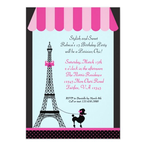 Eiffel Tower Girl Birthday Invitation Zazzle
