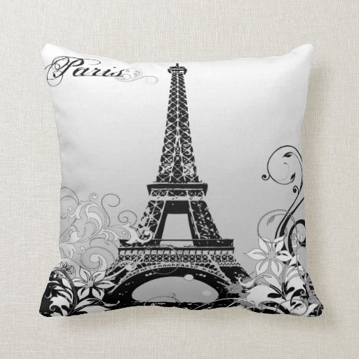 Eiffel Tower Paris BW Throw Pillow  Zazzle