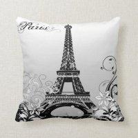 Eiffel Tower Paris (B/W) Throw Pillow | Zazzle