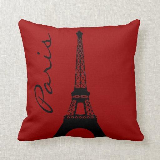 Eiffel Tower Paris Red Throw Pillow  Zazzle