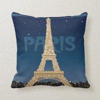 Eiffel Tower Sparkle Throw Pillow | Zazzle