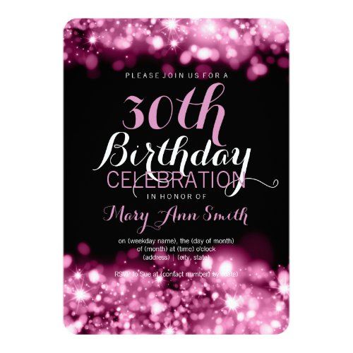 Elegant 30th Birthday Party Pink Sparkling Lights Card