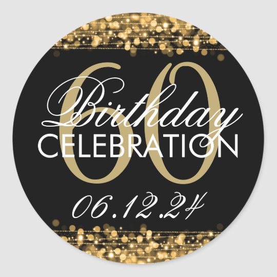 Elegant 60th Birthday Party Sparkles Gold Classic Round