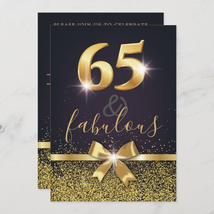 elegant 65 fabulous gold glitter 65th birthday invitation zazzle com