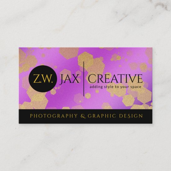 Elegant Abstract Gold Confetti on Purple Business Card