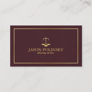 Elegant and Modern Burgundy Leather Attorney Business Card