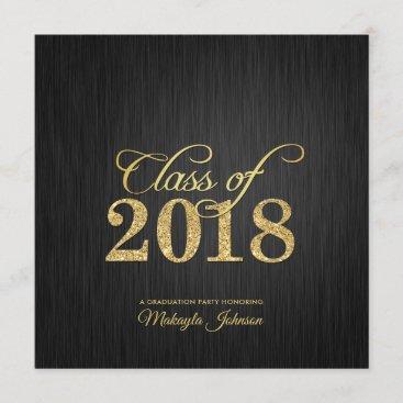 Elegant and Modern Gold Glitter Class of 2018 Invitation