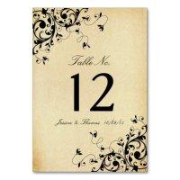 Elegant Antique Swirls Wedding Table Number Card | Zazzle