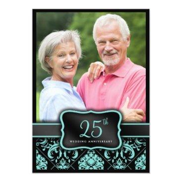 Elegant Aqua Blue and Black Damask 25th Wedding Card