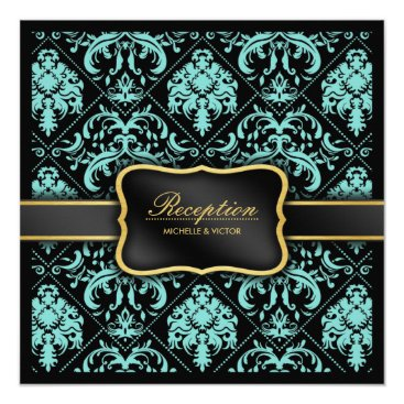 Elegant Aqua Blue and Black Damask Reception Only Invitation