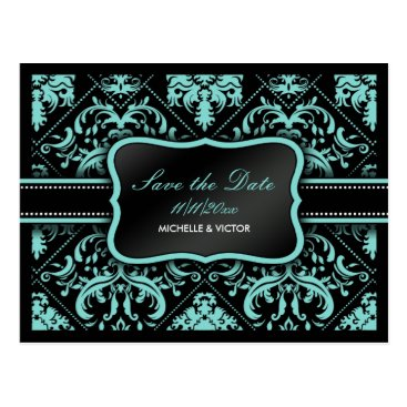 Elegant Aqua Blue and Black  Damask Save the Date Postcard