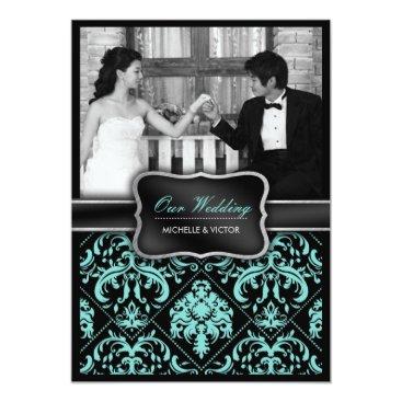 Elegant Aqua Blue and Black Damask Wedding Photo Invitation
