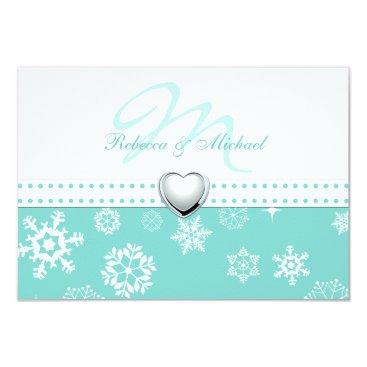 Elegant Aqua Blue and Snowflakes Wedding RSVP Card