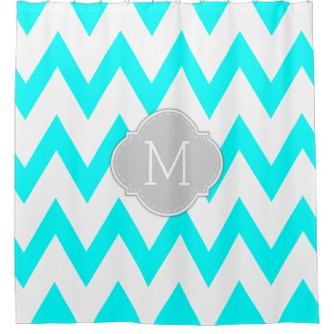 Elegant Aqua Blue and White Chevron with Monogram Shower Curtain