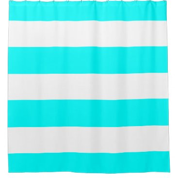 Elegant Aqua Blue and White Stripes Shower Curtain