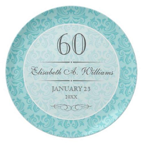 Elegant aqua blue damask pattern 60th birthday plates